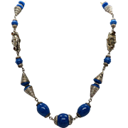 """Vintage 17"""" Blue Glass Simulated Lapis Bead Necklace with Cone Metal Beads & Decorative Beads set with simulated Topaz"""