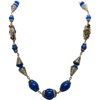 "Vintage 17"" Blue Glass Simulated Lapis Bead Necklace with Cone Metal Beads & Decorative Beads set with simulated Topaz"
