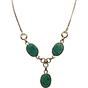 """Vintage 16"""" AMCO Carved Glass Simulated Jade Necklace with Drop"""