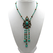 "Vintage 23 1/2"" Peking Glass Bead Necklace with Gorgeous Filigree & Cabochon Peking Glass Center Design"