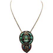 Antique Egyptian Revival Necklace with Carved Glass Pharaoh Head