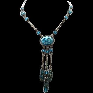 "Vintage 21"" Czech Blue Foil & Fused Glass Beaded Necklace with 4"" long Fringe Drop"
