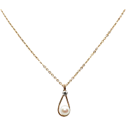 "Krementz 14K Gold Overlay Akoya Cultured Pearl Teardrop Pendant on 18"" Fine cable  Chain in Original Box"