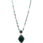 Vintage Art Deco Glass Chrysoprase & Green Bead Necklace with Large Glass Stone Pendant