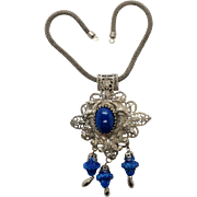 Large Vintage Style Metal Spec. N.Y Simulated Lapis Filigree Pendant with Bead Fringe