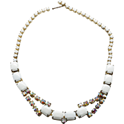 "Vintage 15"" Adjustable White Glass Stone & Rainbow Rhinestone Choker Necklace"
