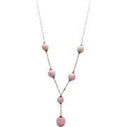 Vintage Pink Glass Bead Necklace on Ornate Chain