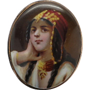 Antique Porcelain Hand Painted Portrait Pin of Woman in Ethnic Costume