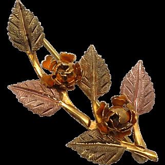 Vintage Black Hills Gold Leaf & Rose Pin in 10K & 12K  Green, Pink & Yellow Gold