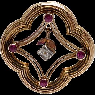 Antique 10K Yellow Gold Diamond & Imitation Ruby Pin / Brooch