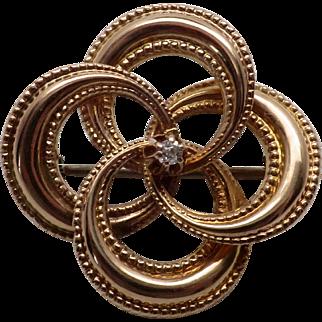 Antique Victorian Diamond Love Knot Pin / Brooch w/ Beaded Edge 10K YG