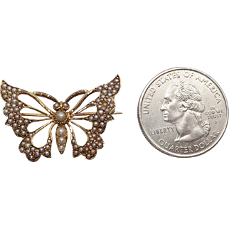 Delicate Antique Edwardian Seed Pearl Butterfly Pin or Brooch / Watch holder