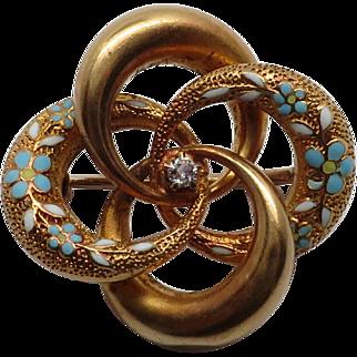 Antique Diamond & Flower Enameled 14K YG Love Knot Pin / Brooch