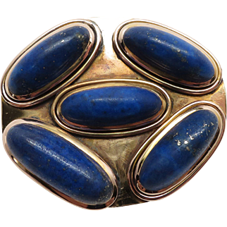 Unique Antique Victorian Genuine Lapis Pin / Brooch with Engraved Back