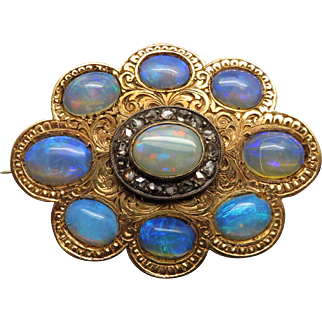 Unique Antique Victorian 14K YG Hand Engraved Opal & Diamond Pin