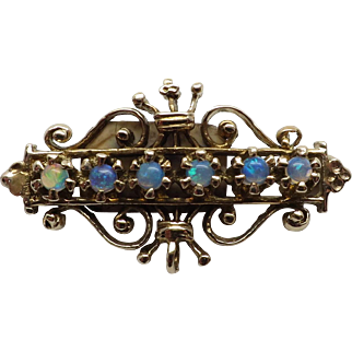 Gorgeous Reproduction Antique Look 14K Yellow Gold Opal Bar Pin / Brooch