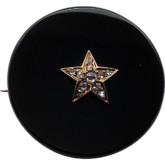 Fancy Antique Victorian Mourning Pin in Black Onyx with 5 Pt Star in Center set with Diamonds