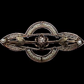 Exquisite Edwardian 10K WG Seed Pearl & Diamond Filigree Bar Pin / Brooch