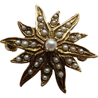 Antique 14K Yellow Victorian Gold Seed Pearl Starburst Pin