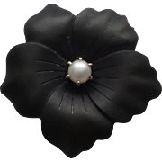Gorgeous 14K Yellow Gold Victorian Carved Onyx  Flower /Pansy & Pearl Pin / Brooch - Red Tag Sale Item