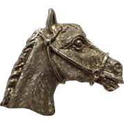 Beautiful 14K White Gold Vintage New Horse Head Pin with Safety Catch