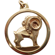 Vintage New Krementz 14K Gold Overlay Capricorn Zodiac Pendant with open Design