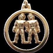 Vintage New Krementz 14K Gold Overlay Gemini Zodiac Pendant in an open design