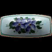 Beautiful Delicate Czech Enamel Pin with Purple Flowers on Blue Background