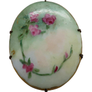 Pretty Vintage Porcelain Pin of Delicate Red Roses on Vine