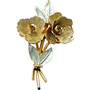 Vintage Coro Two Toned Large Floral Pin with Original Paper Label