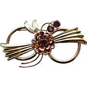 Pretty Pink & Yellow Gold Filled Harry Iskin Circle Flower Pin set with Imitation Amethysts