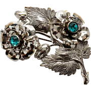 Stunning Large Sterling Floral & Leaf Pin with Imitation Emeralds
