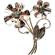 Vintage Sterling Vermeil Spray Flower Pin with Simulated Blue Topaz