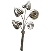 Vintage Sterling Silver Flower Spray Pin
