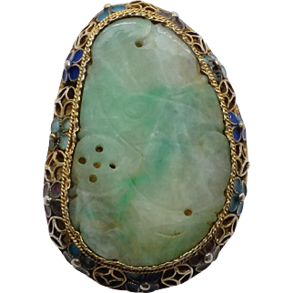Gorgeous Vintage Vermeil Filigree & Enamel Carved Jade Adjustable Ring