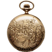 Antique 14K Yellow Gold 1911 Hunters Case Engraved Edwardian Men's Pocket Watch- Working order