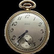 Vintage 14K YG Man's 1926 Art Deco Design Open Face Elgin Pocket Watch / Sweep Dial /Working