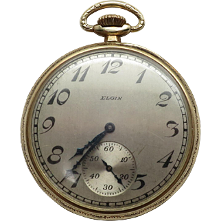 Vintage 14K YG Man's 1926 Art Deco Design Open Face Elgin Pocket Watch / Sweep Dial /Working