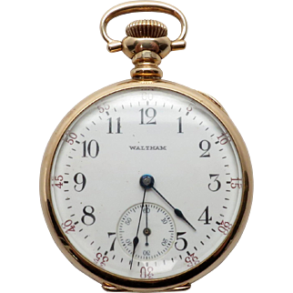 Antique 14K Yellow Gold Waltham 1908 Open Faced Ladies Pocket Watch- Working order