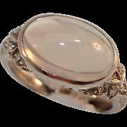 Art Deco Era 900 Platinum Moonstone and Diamond Ring