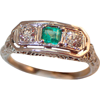 Early 1900's 14K Emerald Diamond Ring WOW!