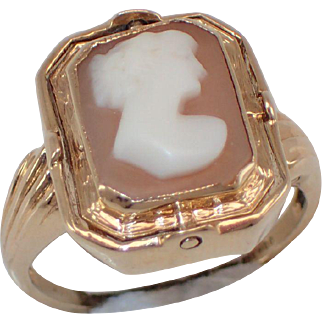 "10K Cameo ""Flip"" Date Ring - Shell AND Onyx... NEAT"