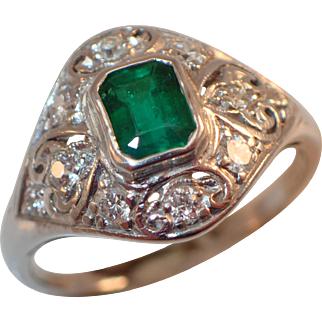 Timeless Art Nouveau Platinum Diamond and Emerald Ring