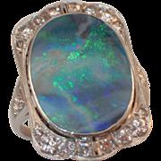 Platinum Art Deco Black Opal and Diamond Ring