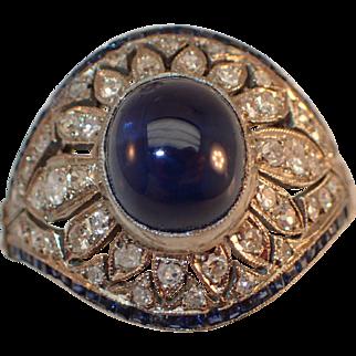 Art Deco Sapphire and Diamond Platinum Ring