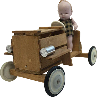 Small Hertwig Doll & Wooden Car