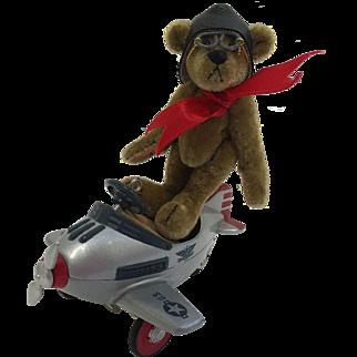 Hallmark Airplane Christmas Ornament & Pilot Teddy Bear