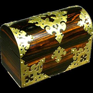 A 19th Century Brass Bound Coromandel Stationary Box, English Circa 1860