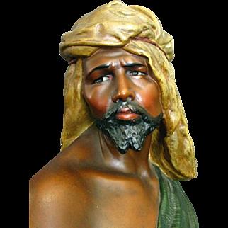 An Early 20th Century Orientalist Plaster Bust of a Moor or Blackamoor, Circa 1920