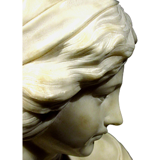 A Finely Sculpted Alabaster Portrait Bust of a Young Woman, Continental Circa 1920
